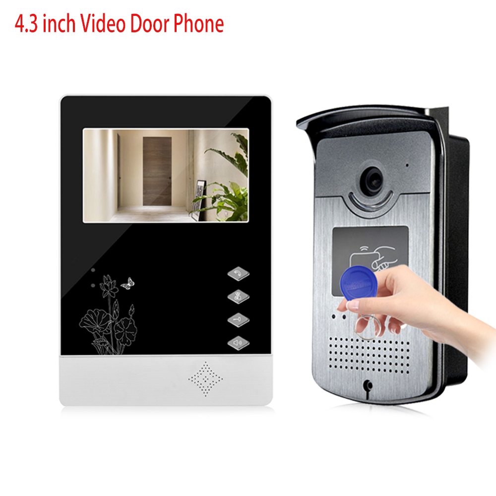 4.3'' RFID Color Video Intercom Door Phone Entry System With IR COMS Outdoor Camera Doorbell In Stock Support 500 User Cards rfid keyboard ip65 waterproof video doorphone intercom system for 3 apartments with 7 color lcd video intercom system in stock