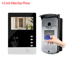 "4.3"" RFID Color Video Intercom Door Phone Entry System With IR COMS Outdoor Camera Doorbell In Stock Support 500 User Cards"