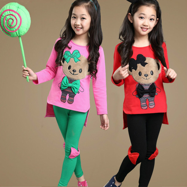 Children's Outfits Wear New 2018 Kids Girls Bear New Cotton Teens Suits Autumn Two-color Casual Two-piece Clothing Set CLS213