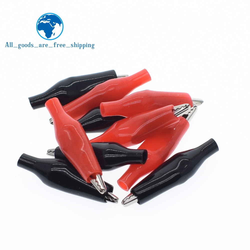 28MM Metal Alligator Clip G98 Crocodile Electrical Clamp for Testing Probe Meter Black and Red with Plastic Boot Rated
