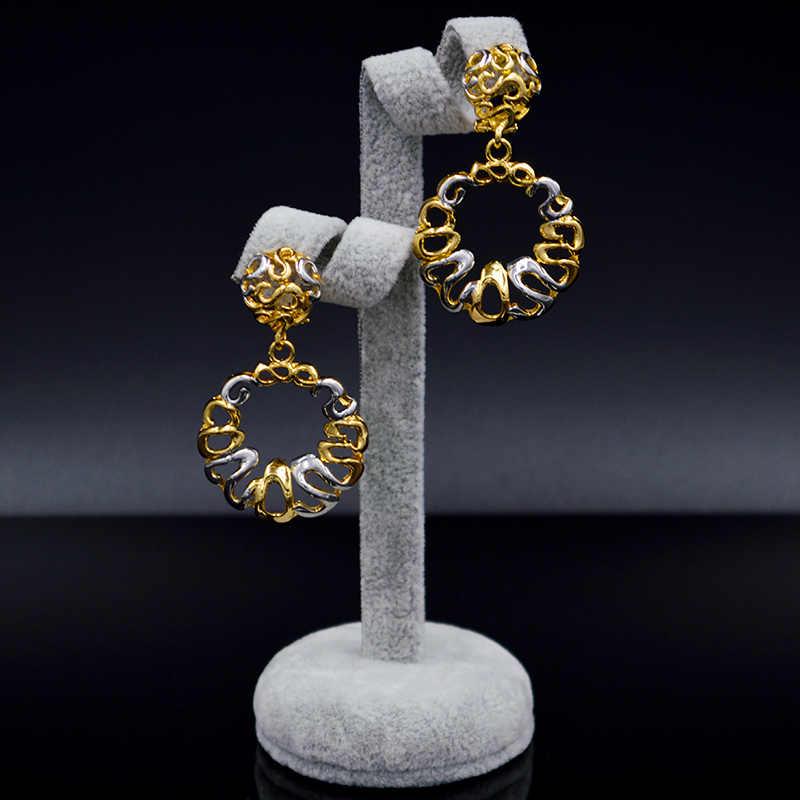 Ensoleillé bijoux rond fleur ligne évider déclaration bijoux 2019 grandes boucles d'oreilles pendentif collier ensembles de bijoux pour les femmes pour la fête