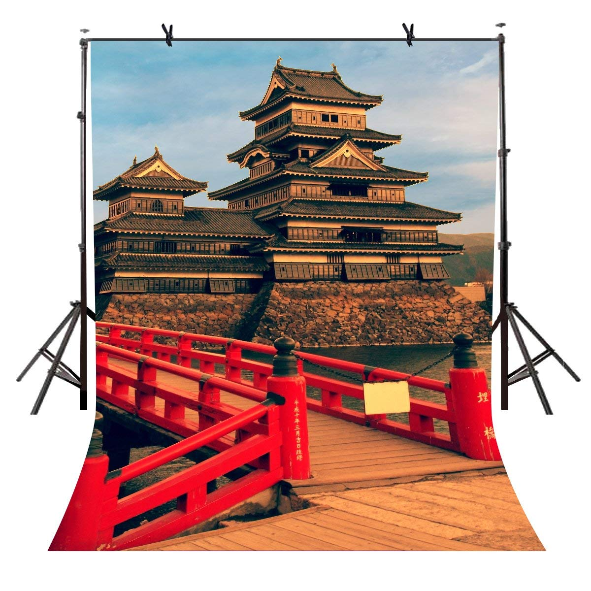 5x7ft Ancient Buildings Backdrop Red Bridge Building Photography Background and Studio Props
