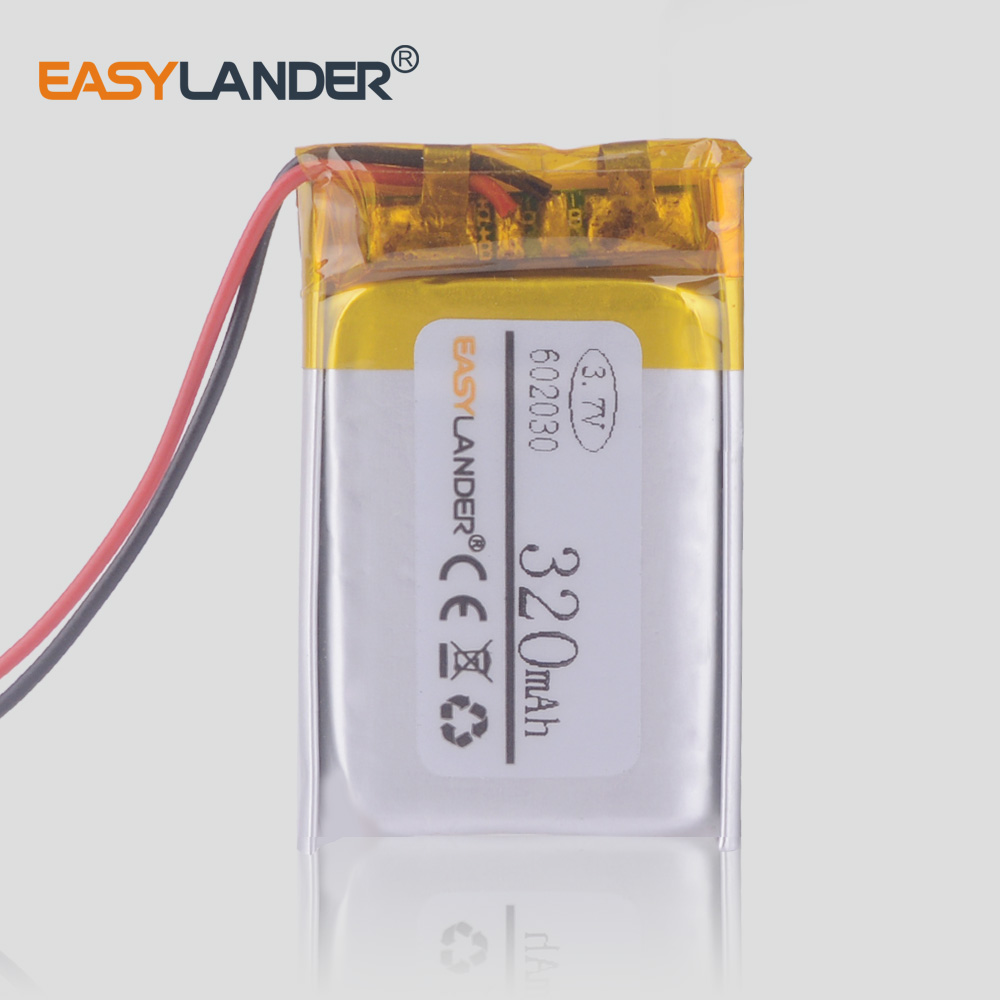 <font><b>602030</b></font> 320 mah 3.7V lithium-ion polymer battery for gadget wireless mouse MP3 player image