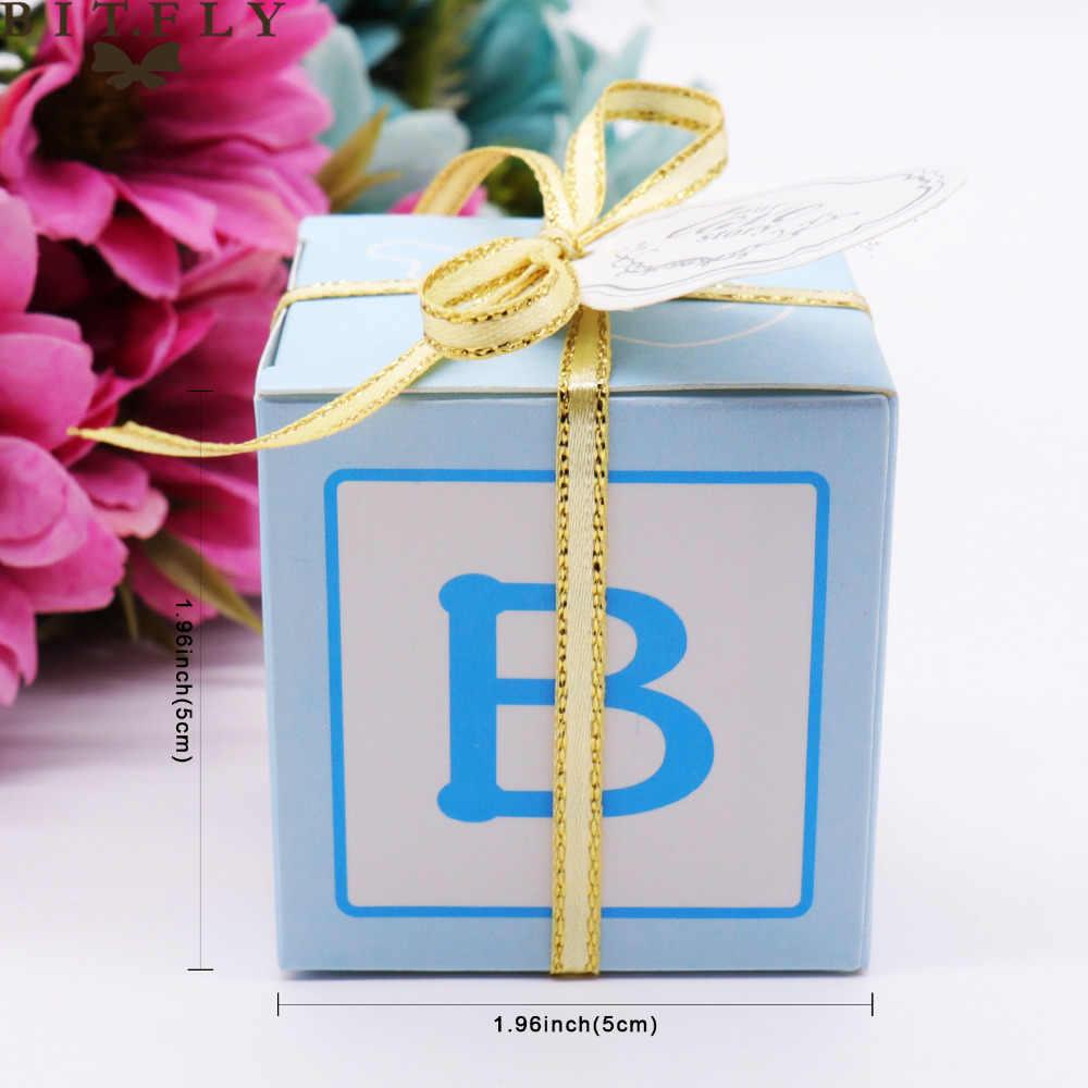 Decorações Do Chuveiro de Bebê Caixa de Presente de casamento Caixas Dos Doces Favores Do Casamento e Caixa de Presentes para Os Convidados da Festa Suprimentos Menino menina Rosa azul