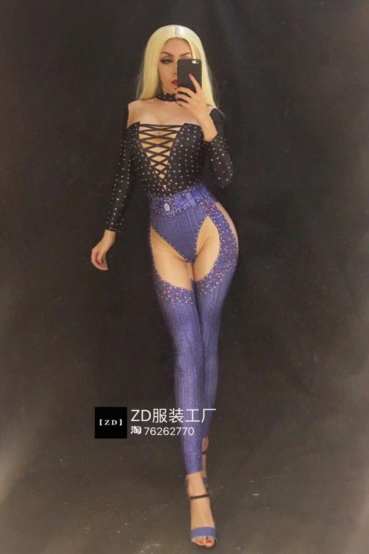 Strass Rivets De Danse Partie Sexy Serré Noir Bleu Costumes Corps Bar Salopette Célébration Denim Club Femmes D'anniversaire Costume qw6PIt1S