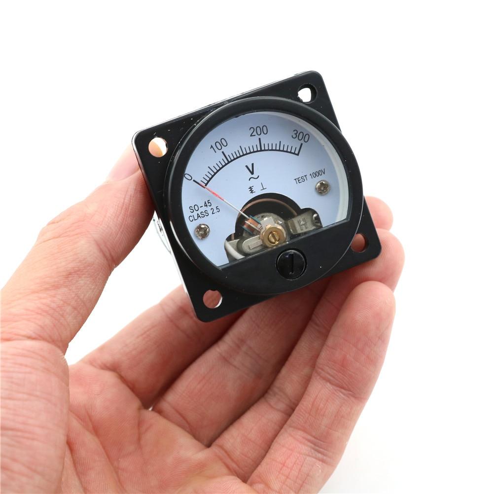 1 * Voltmeter SO-45 AC 0-300V Round Analog Dial Panel Meter Gauge Black