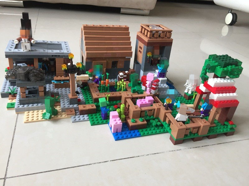 Minecraft 1106pcs The Village marketplace adventures Steve minifigures Blocks kids Toys Compatible with font b legoes