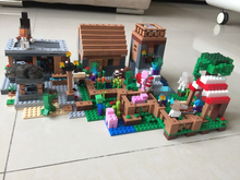 Minecraft 1106pcs The Village marketplace adventures Steve minifigures Blocks kids Toys Compatible with legoes 21128