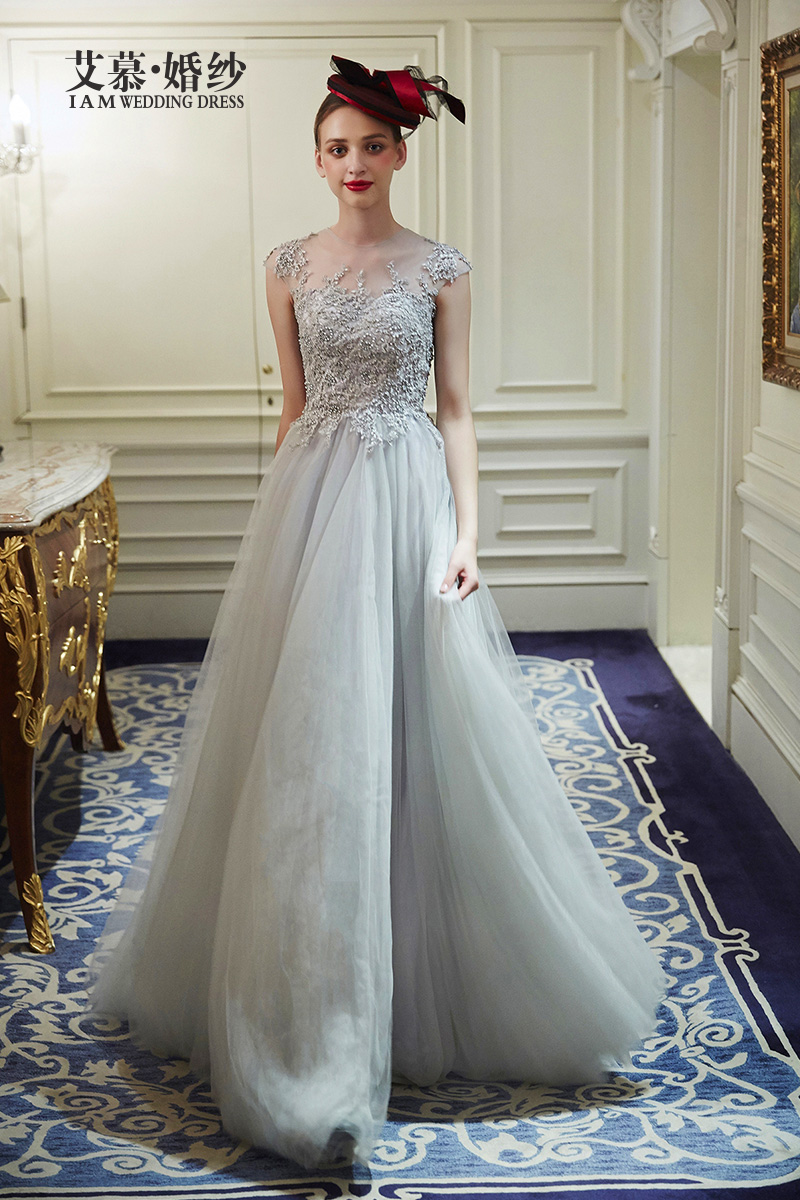 Wedding Silver Wedding Dress popular silver wedding dress buy cheap lots a line dresses tulle and lace applique beaded bridal gown cap sleeves floor