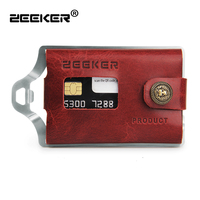 ZEEKER Slim Metal Wallet with Money Clip RFID Blocking Card Mini Leather Wallet For Men