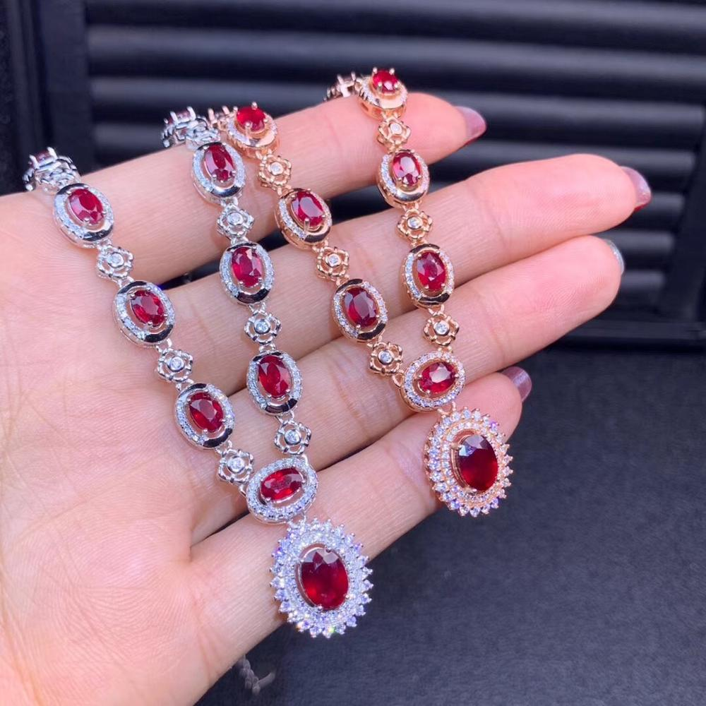 Exquisite Big Sale Glorious Red Ruby Gem Pendant Of Women Necklace Jewelry Birthday Party Gift Natural Ruby Noble Characteristic