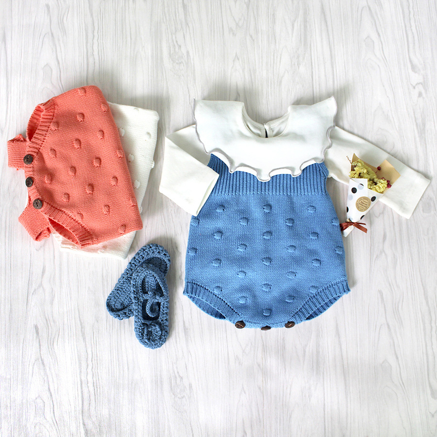 2018 Spring Ins Set Cute Knitted Full Sleeve Baby Bodysuit Pure Cotton Stylish Baby Girl Sweater Body Suits kids jumpsuit infant ...
