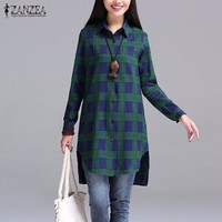 Autumn 2016 Women Blouses Casual Blusas Lapel Neck Buttons Long Sleeve Split Asymmetrical Tops Print Plaid