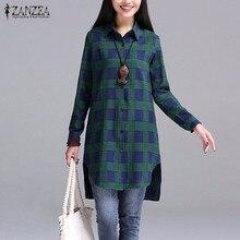 Autumn 2017 Women Blouses Casual Blusas Lapel Neck Buttons Long Sleeve Split Asymmetrical Tops Print Plaid Shirts Hot Sale