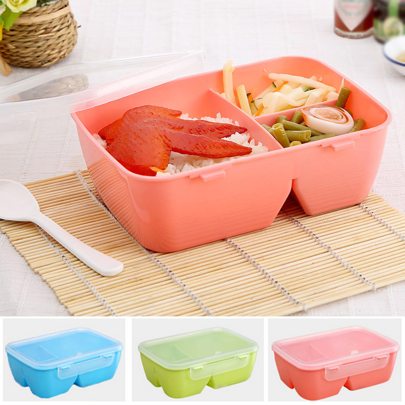 Compartment Microwave LunchBoxes for Kids with 3 Partition Grids Picnic Bento Food Container Storage with Spoon D2