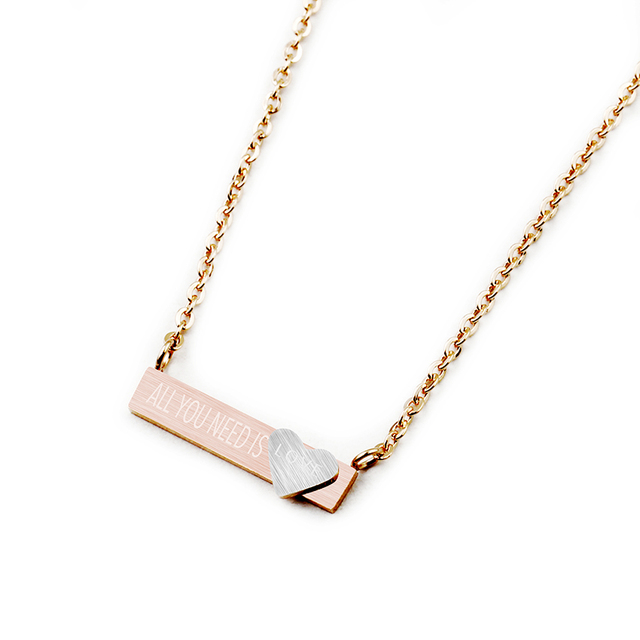Charms bar pendant engraved all you need is love word necklace tiny charms bar pendant engraved all you need is love word necklace tiny heart silver gold pink mozeypictures Images