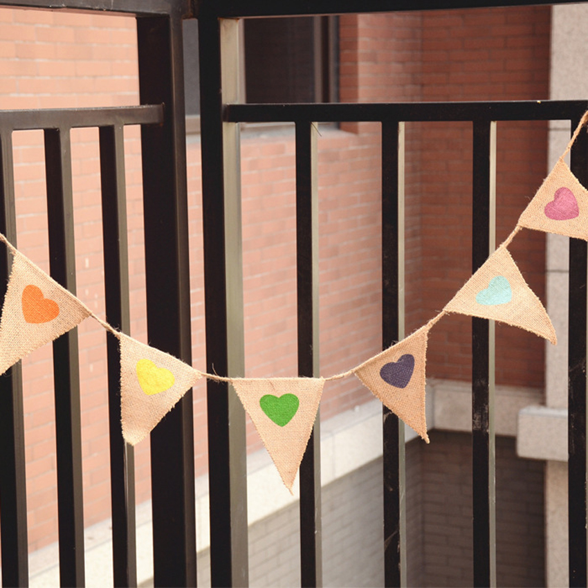 Bunting Love Heart hessischen Sackleinen Stoff Flagge Banner Garland Photo Booth Requisiten Photobooth Geburtstag Party Dekoration Hochzeit Deko