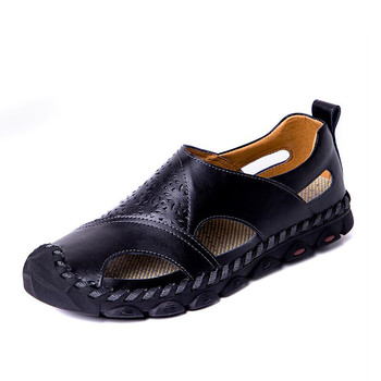 2019 New Summer Sandals Men Breathable High Quality Genuine Leather Sandals Man Flats Plus Size Fashion Casual Beach Men's shoes 1