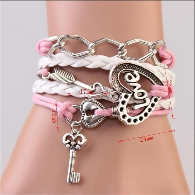 FAMSHIN New Handmade Bracelet Lock key Cupid's Arrow Charms Infinity Bracelet White Pink Leather Bracelet Women Best Couple Gift 1