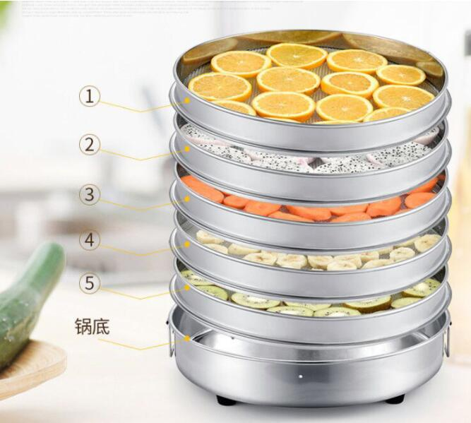 Commercial 5 Layer 360W Stainless Steel Fruit Dryer Machine Electric Vegetable Dehydrator Computer Control Food Air Dryer Tool