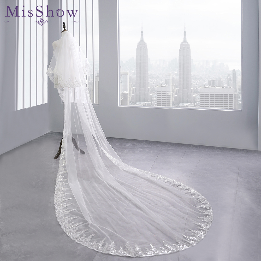 Two Layers Full Edge With Sequin 3.8 M Long Wedding Veil With Comb White Ivory Bridal Veil Velos De Novia Wedding Accessories