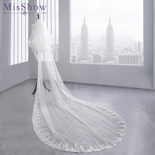 Two Layers Full Edge with Sequin 3.8 M Long Wedding Veil Comb White Ivory Bridal Velos De Novia Accessories