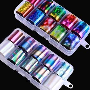 Image 1 - Parlak gökyüzü lazer tırnak kaplaması seti mavi şeffaf mermer Nail Art transferi Sticker dekorasyon DIY