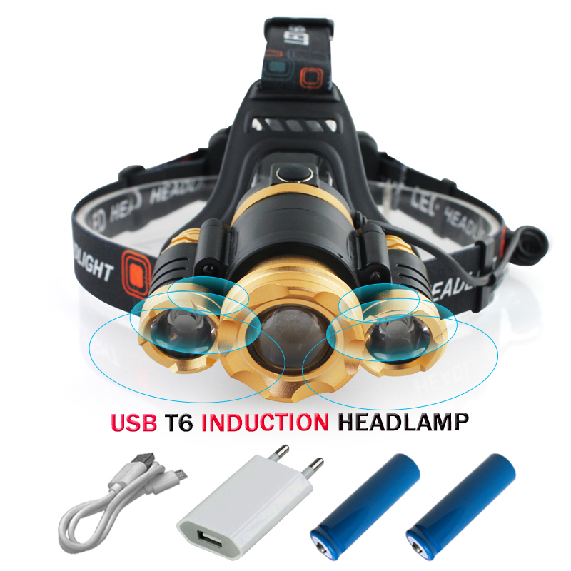 Induction Headlight IR Sensor Micro USB Headlamp Rechargeable Lanterna XML T6 Head lamp Flashlight Head Torch mining hoofdlamp