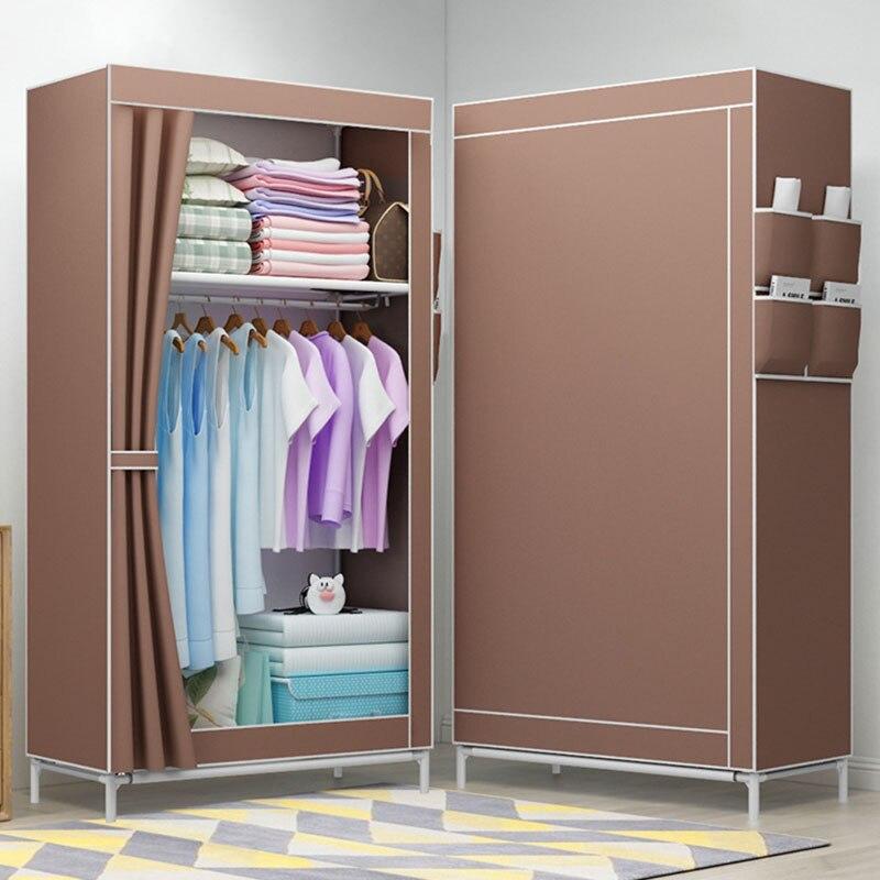 Simples dobrado estudantes pequena combinação de guarda-roupa montagem diy guarda-roupa único armário de armazenamento de roupas à prova de poeira armário de pano