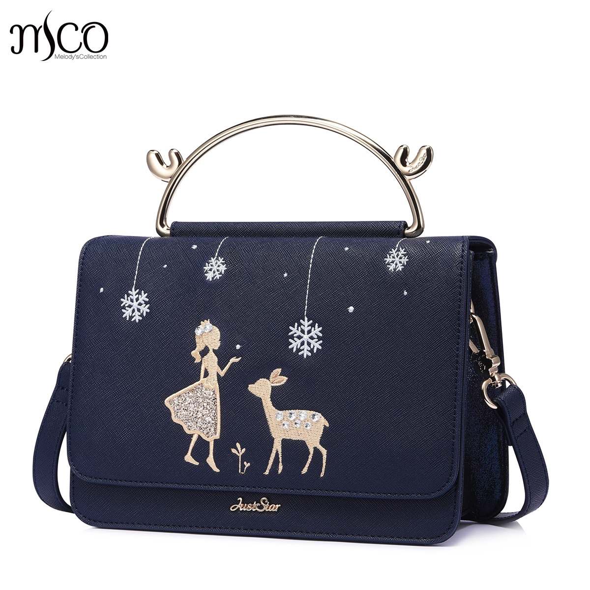 Brand Design Fashion Snow Princess Deer Embroidery Women Leather Girls ladies Ladies Handbag Crossbody Shoulder Flap Bags bolsos