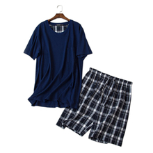 Mùa Hè Váy Bộ Đồ Ngủ Bộ Ngắn Tay Nam Váy Ngủ Cotton 100% Cổ Tròn Quần Ngủ Nam Pijama Hombre