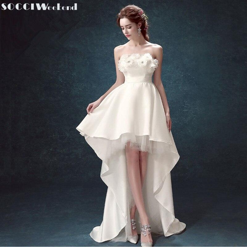 SOCCI Princess Bride Bröllopsklänningar Kort Fram Lång Bak Blomsterklänning Av Skulder Vigsel Festklänning Ny Vestido De Noiva