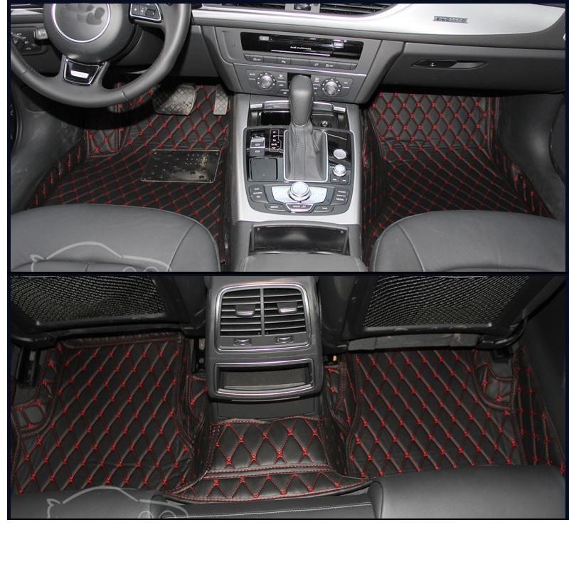 lsrtw2017 fiber leather car interior floor mat for audi a6 c5 c6 c7 2000-2019 2018 2017 2016 2015 2014 2012 2011