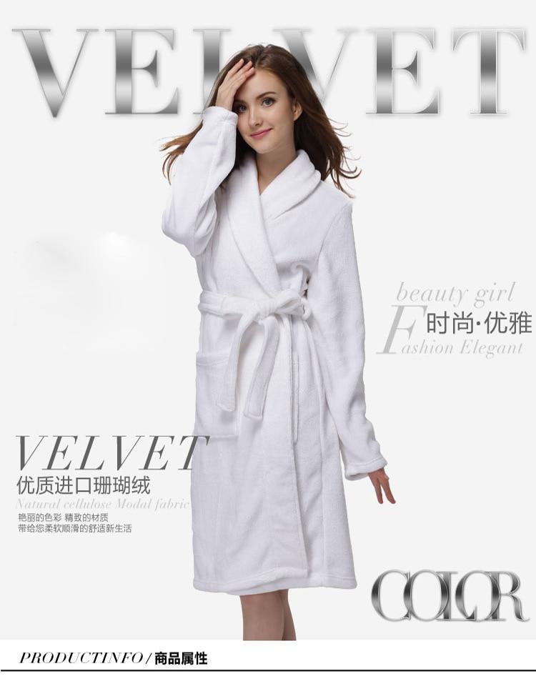 5ff3391e90 White Cotton Bathrobe Woman Cloak Dressing Gown Women Bath Robe Thick Warm  Couples Towel Albornoz Mujer Kimono Peignoir Femme