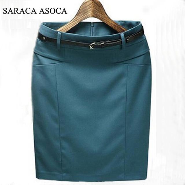 New Style Spring Summer Slim Hip Straight Formal Skirts Fashion Women's Plus Size XXXL Cotton Work Pencil Skirt Ladies