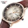 2016 relojes hombre ultra delgado Top brand reloj de Cuarzo Reloj de hombre de Negocios Casual de JAPÓN LB80086 longbo Reloj Análogo de Cuero de Los Hombres