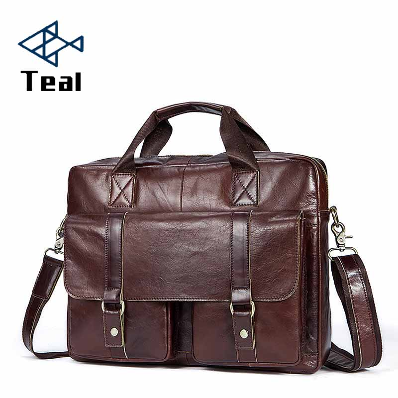 Men Briefcase Genuine Leather Bags Cow Leather Business Office Bags For Male Bag High Quality Men Laptop Bag Briefcases