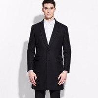 Marke männer kleidung Mode 2016 Frühling Herbst 50% Wolle männer lange schwarz wolle-mischungen mantel slim fit mantel jacke für männer business