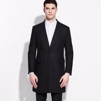 brand men clothing Fashion 2016Spring Autumn 50%Wool men long black wool blends coat slim fit overcoat jacket for men business
