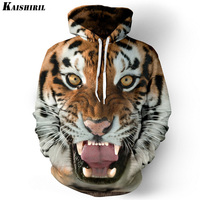 Men Hoodies Hip Hop Sweatshirt Funny 3D Tiger Lion Fashion Brand Plus Size 3XL Hoodie Men