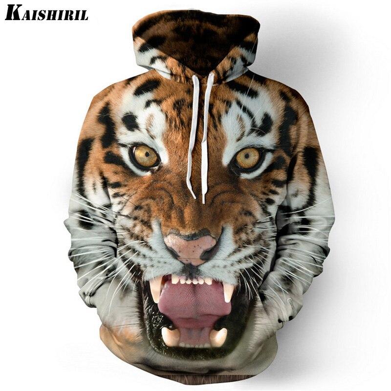 Men's Hoodies Sweatshirt Men Funny 3D Tiger Lion Fashion