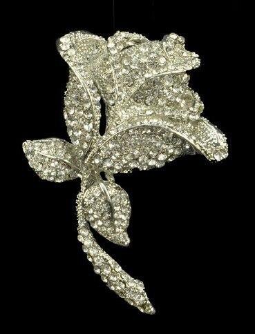 Extra Large Wedding Rose Flower Brooch Vintage Silver Plating Rhinestone Crystal Diamante Wedding Bridal Pins