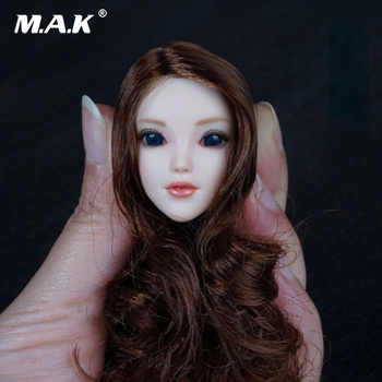1/6 scale Female Girl Head with Brown Long Hair Movable Eyes Pale Color for 12 Inches Woman Action Figure Bodies