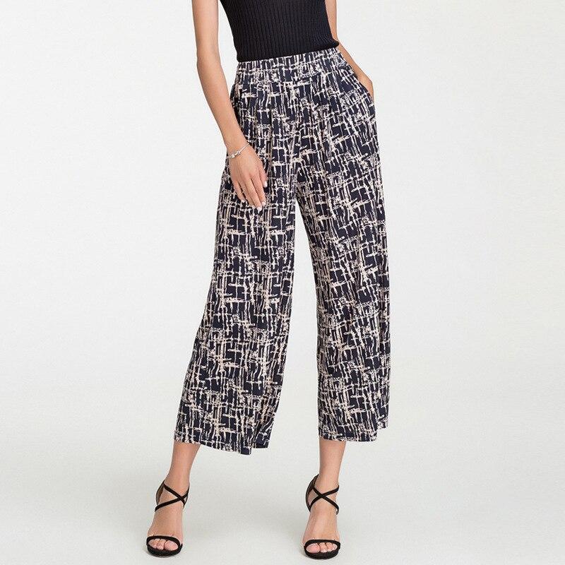 ผ้าไหมกว้างขากางเกงหญิงพิมพ์ตรงกางเกง, ธรรมชาติผ้าไหมเอว Casual กางเกง, หลวมขนาดใหญ่   ขนาดกางเกง-ใน กางเกงและกางเกงรัดรูป จาก เสื้อผ้าสตรี บน   1