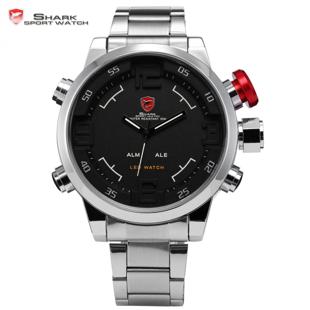 SHARK Sport Watch LED Dual Time Stainless Full Steel Black Dial Digital Date Day Alarm Relogio Quartz Military Men Clock / SH103 top brand luxury digital led analog date alarm stainless steel white dial wrist shark sport watch quartz men for gift sh004