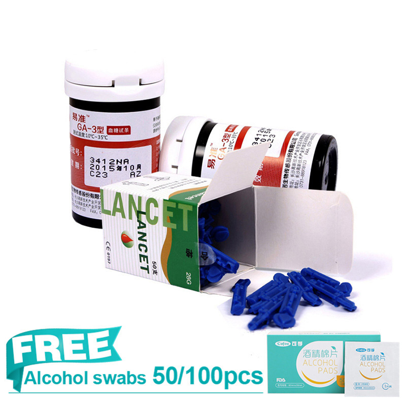 Sannuo 50/100pcs Glucose Test Strips with lancets needles without Yizhun GA-3 Glucose meter Blood Collection Medical Tools цена