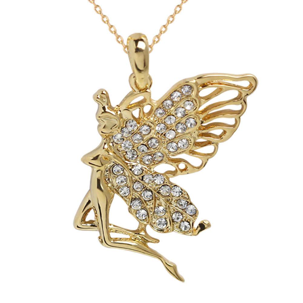 Kryształ w złotym kolorze anioł dziewczyna wróżka naszyjnik choker stop cynkowy dziewczyna kobiety moda biżuteria akcesoria