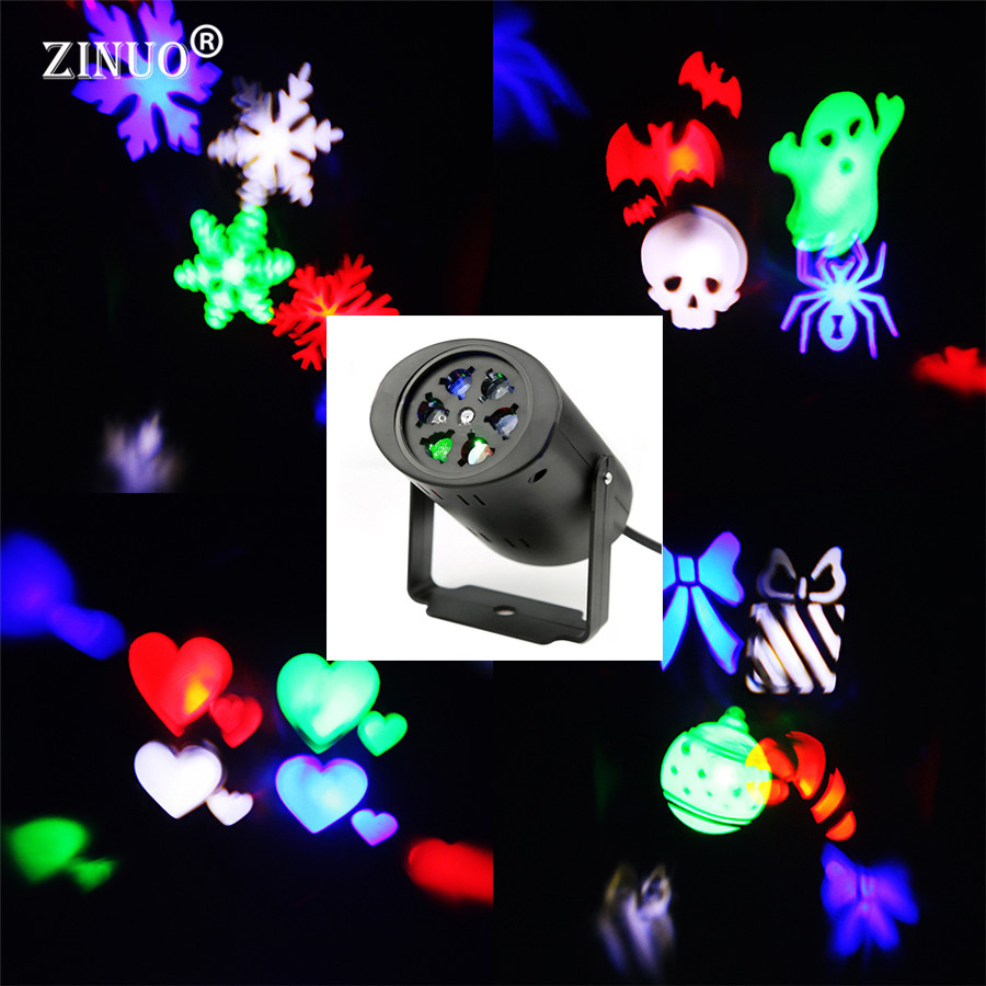 ZINUO Moving Snow Laser Projector Lamp Snowflake LED Stage Light Christmas/New Year Party/Halloween Projector Outdoor Snow Fall christmas heart snowflake halloween spider bowknot projector lights led stage lamps