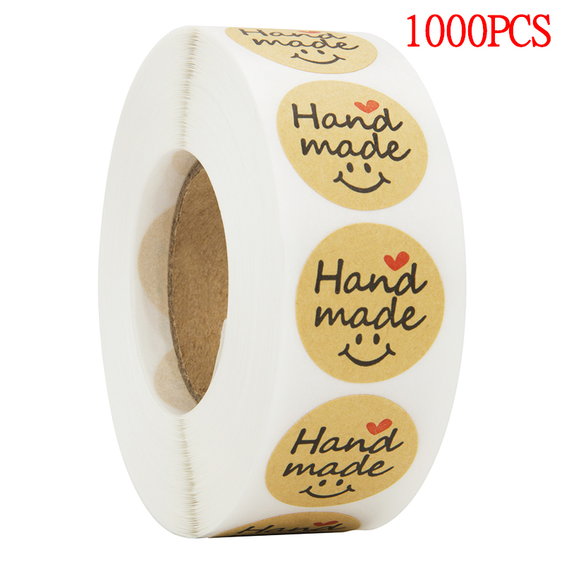 500pcs Round Natural Kraft Hand Made Stickers Seal Labels Cute Sticker For Cake Packaging Labels Sticker Stationery