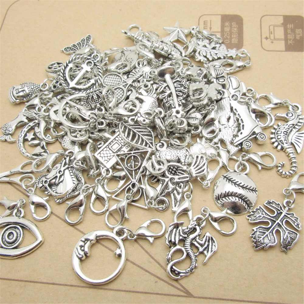 Mix 30 sztuk metalowe wiszące karabińczyk wisiorki koraliki europejskie pasuje do stylu pandora bransoletki naszyjnik DIY tworzenia biżuterii